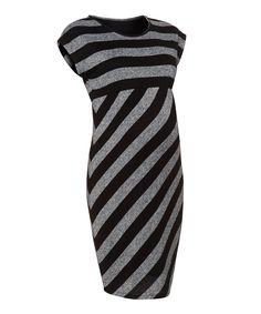 423250dd4f8f1 Black and Grey Block Striped Maternity Dress