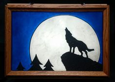 Wolf moon Window Art faux stain glass painted sun catcher forest woods night full moon wolves howl for him for her dad mom father's day father den man cave gift