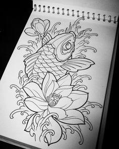 37 ideas design tattoo koi for 2019 Koi Dragon Tattoo, Pez Koi Tattoo, Koi Tattoo Sleeve, Japanese Sleeve Tattoos, Sternum Tattoo, Dragon Tattoo Designs, Tattoo Sleeve Designs, Koy Fish Tattoo, Japanese Koi Fish Tattoo