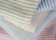 Natural cotton colorful striped blanket made in the USA by Brahms Mount of Maine
