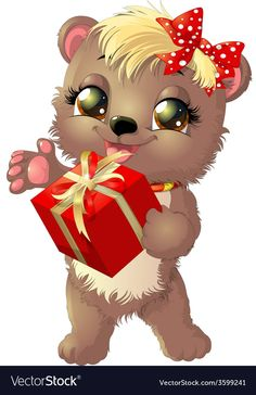beautiful bear who holds in his paws gift on white background Cute Photos, Pretty Pictures, Cartoon Art, Cute Cartoon, Free Vector Images, Vector Free, Gamer Cat, Bear Vector, Beautiful Kittens