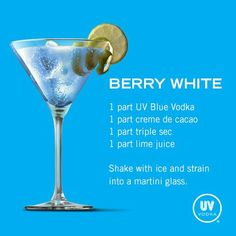 Shake with ice and strain into a martini glass. Liquor Drinks, Vodka Cocktails, Cocktail Drinks, Cocktail Recipes, Alcoholic Drinks, Beverages, Uv Vodka Recipes, Alcohol Drink Recipes, Uv Blue Drinks