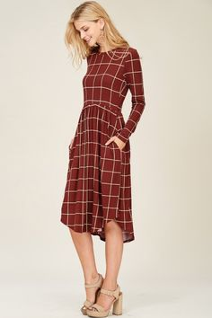 99a6276d21fa Rust Checkered Dress - $34 Chloe Dress, Dress Up, Apostolic Fashion, Dress  Making