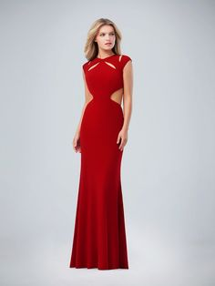 Val Stefani | Style 3219RT | Unique Scoop Neck Jersey Trumpet Prom Dress with Cut Outs