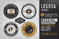 This pack includes 4 #design of highly customizable #logo templates. Vintage wedding photography logo for your awesome labels, packaging, branding, apparel or whatever you want. All fonts expand, and used like exsample