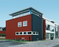 Fassadengestaltung farbe beispiele  Beispiele für Fassadenfarben | Fassadenfarbe, Rot und Innovativ