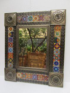 PUNCHED TIN MIRROR mixed talavera tiles mexican folk art mirrors wall decoration #Handmade