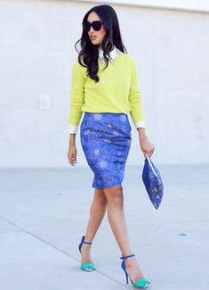 collared-top-with-yellow-sweater-and-blue-skirt