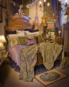Boho Bedroom-love the color. The BEDSKIRT!!! How many lamps, AND a chandelier! Completely over the top!