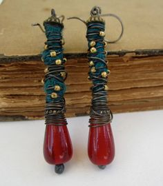 Poetic License. dangle earrings primitive tribal by beatnheart