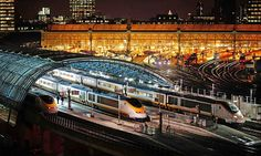 St Pancras International, London with Eurostar High Speed Trains to Paris ready for departure