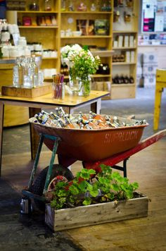 Wheel Barrel Drink Display - probably cheaper than trying to find galvanized buckets