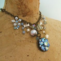 Ice Fairy Collage Statement Necklace Pale Aqua Blue by maddielisee, $36.00