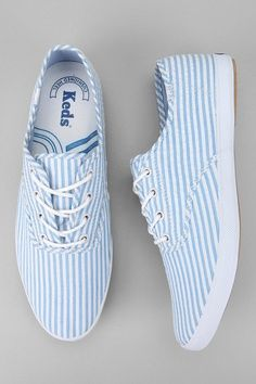 White and blue striped Keds