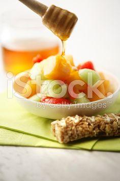 Fruit Stills: Salad, Cereal Bar and Honey royalty-free stock photo