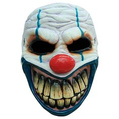 Have the last laugh with our Toothy Evil Clown Mask! This latex clown costume mask features wrinkled white skin with blue makeup around the eyes, plus giant teeth. Halloween Clown, Halloween Karneval, Halloween News, Halloween Make Up, Halloween Horror, Halloween Face Makeup, Evil Clown Mask, Evil Clowns, Creepy Clown