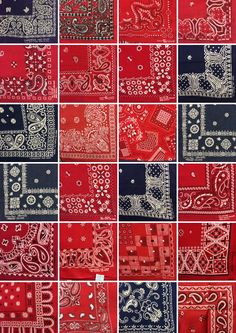 / bandana collage / Bandana Scarf, Red Bandana, Bandana Print, Paisley Design, Paisley Pattern, Textile Patterns, Print Patterns, Textiles, Arte Lowrider