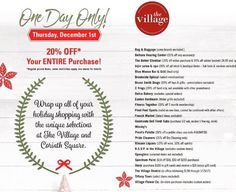 Shop tomorrow's open house at The Village Shopping Center. Story is offering a free $20 gift card with the purchase of a $100 gift card.  Cheers!