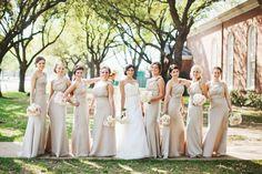Champagne bridesmaids dresses.