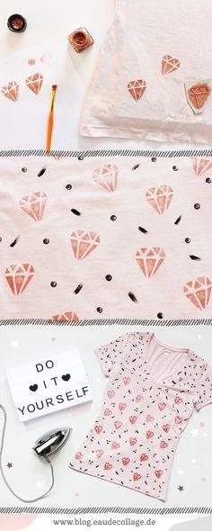 DIY / SHIRT MIT DIAMANT KUPFER PRINT BEDRUCKEN // Dieses süße Shirt mit Diamant-Kupfer-Print und Brushstrokes könnt ihr mit meiner DIY-Anleitung ganz einfach und günstig selbermachen! Für diese DIY-Idee braucht ihr nur ein altes T-Shirt, Textilfarbe zum bemalen und ein Bügeleisen, um das DIY-Shirt zu fixieren. www.blog.eaudecollage.de