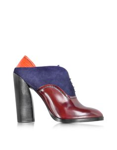 Jil Sander Multicolor Leather and Suede Lace-up Bootie 36 (6 US   3 UK   36 EU) at FORZIERI