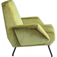 Italian lounge chair in lacquered metal and velvet fabric - 1960s