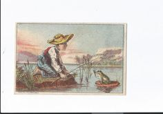"Victorian Trade Card Cleveland Clothing Company Approx.Size 2""X3"" Boy/Frog #ClevelandClothingCompany"