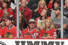 Former MLB player Paul Konerko watches Game Four of the Western Conference Finals at the United Center.