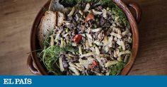 És un plat que en si mateix és una ofrena, una penyora, amb l'eco de tast primitiu que sembla un caramull de coses petites contràries però en el qual se sumen, resten i es diferencien bé les coses distintes del gran tot d'un mosaic en mossegada