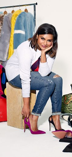 """""""I feel like I own 100 pairs of jeans and they're all I wear in real life, but no one ever sees me in them!"""" - Mindy Kaling, our latest Shopbop Style Muse. See her picks on Shopbop!"""