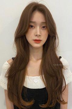 Korean Haircut Long, Korean Hairstyle Long, Korean Long Hair, Korean Hair Color, Long Hair With Bangs, Long Hair Cuts, Medium Hair Styles, Short Hair Styles, Haircuts Straight Hair