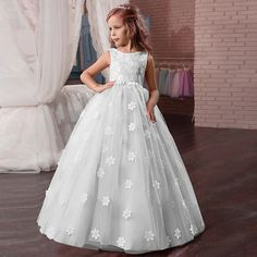 Kids Little Girls' Dress Floral Tulle Dress Party Holiday Easter Backless Mesh Print White Purple Blushing Pink Maxi Sleeveless Vintage Sweet Dresses Fall Spring Regular Fit 2021 - US $27.49