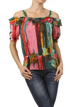 100 percent Polyester 1S/2M/2L/1XL Per Pack Multi Color This HIGH QUALITY top is VERY CUTE! Made from a soft and comfy fabric, this printed semi sheer, top with cutout sleeves, ruffled neckline, elastic cuffs, and a smocked hemline is hand washable, and fits true to size.