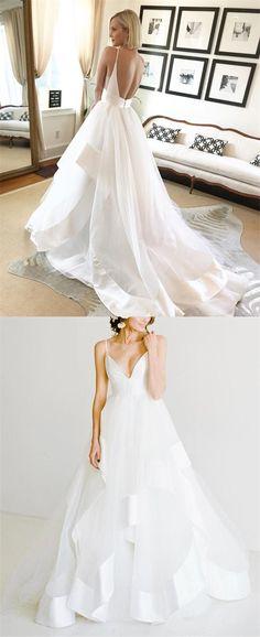 white backless ball gown beach wedding dresses, simple tulle spaghetti straps long bridal dress #wedding