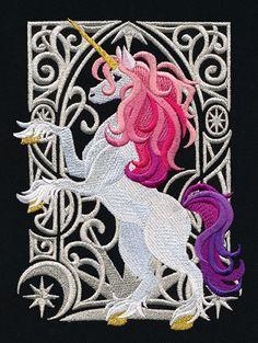 Embroidered Art nouveau quilt block, fabric,cushion panel,wall art,unicorn,horse
