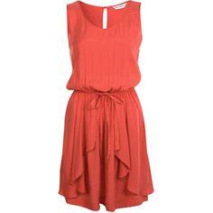 Coral Drape Dress