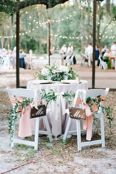 pretty sweetheart table with wooden chair signs | Britt Croft