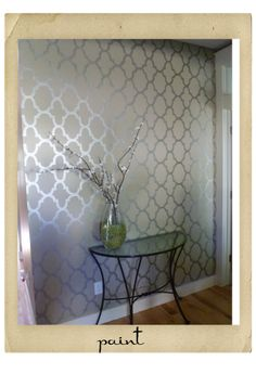 Wall Stencil with Metallic Paint- perfect for our bedroom (it's even the same gray) entire room or just tray ceiling?