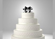 Mickey and Minnie Mouse Heart Hands Wedding Cake Topper