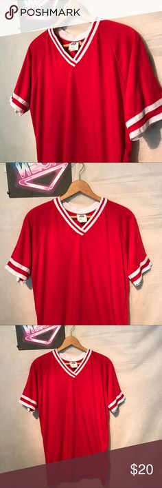 """Vintage 50/50 Men's V-neck Red Shirt Sz L A1682 Vintage Pontone 50/50 Men's V-neck Red Softball Shirt Sz Large, chest - 18"""", collar to hem - 28"""", gently used with no holes or rips, ships from smoke free facility, thank you Shirts Tees - Short Sleeve"""
