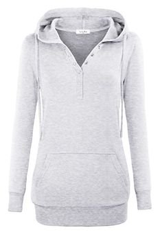 Pullover Hoodies For WomenYaYa Bay Womens Long Sleeve String Pullover Stylish V Neck Kangaroo Pouch Pocket Vintage Buttons Tunic Sweater Hoodie 2X Large Grey *** Check out this great product.