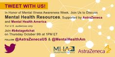 If you're on Twitter Mental Health America and AstraZeneca are co-hosting a Twitter chat about mental health resources! Follow #b4stage4chat, @MentalHealthAm, and @AstraZenecaUS to get involved.