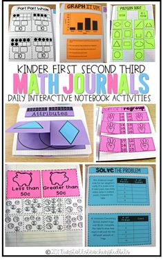 math journals interactive notebook activities for kinder, first, second, and third grades Interactive Math Journals, Math Notebooks, Esl, Second Grade Math, Third Grade, Kindergarten Math, Kids Math, Math Literacy, Numeracy