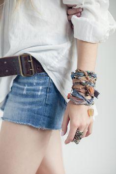 Wrist Wrap Recycled Sari Silk,  Bohemian Bracelet, Boho Bracelet, Boho Bangle, Coachella, Gypsy Wrist Wrap, Fair Trade Bracelet with Gems.