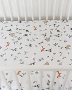 """- Description - Product Details - Material and Care A lullaby to sleep on. 100% cotton muslin fitted crib sheet standard size: 52"""" x 28"""" x 9"""" lightweight and breathable softer with each wash original"""
