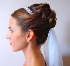 princess bridal up-do complete with veil and tiara