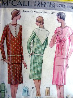 UNCUT  1920's McCALL Sewing Pattern 5703     Ladies' by anne8865