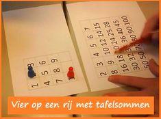 Vier op een rij met tafelsommen - de kdn maken natuurlijk ook extra sommen voor ze weer een goede mogelijkheid hebben gevonden. superspel! KlasvanjufLinda.nl