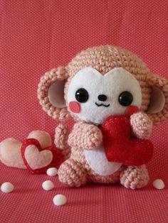 valentines day monkey amigurumi