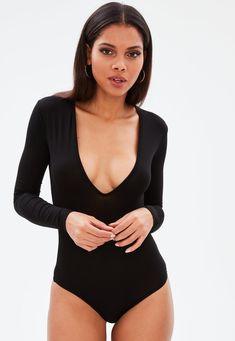 Body noir manches longues décolleté | Missguided